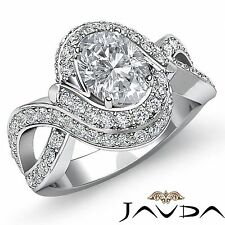 Antique Halo Pre-Set Oval Diamond Engagement Ring GIA I SI1 18k White Gold 2.5ct