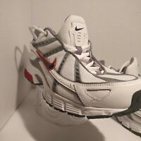 Nike Air White Grey Red Athletic Shoes Men #318188-101 Size 10.5