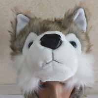 Cartoon Animal Wolf/Penguin Fluffy Plush Warm Hat Cap Scarf Earmuff Mascot Sweet