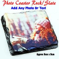 Personalised Photo Rock Coaster Slate Custom Printed Drink Coaster 9cm Square