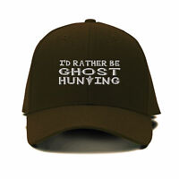 I`D Rather Be Ghost Hunting Silver Embroidered Adjustable Hat Baseball Cap