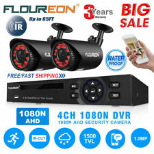 FLOUREON CCTV 4CH 1080N DVR Recorder 1500TVL Outdoor Security Camera System Kits