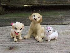 Lot of 3 Barbie pets dogs Lab Yorkies Mattel