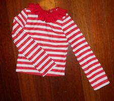 NWOT Striped Ruffle Elf Top Small child stretch long sleeve red white ch sz4-6