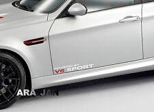 Powered by V6 SPORT Racing Vinyl Decal speed car emblem logo door sticker WHT/R