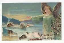 Christmas Angel with Tree Greeting Glittered Antique Postcard N4675