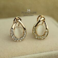18K Rose Gold GP White Opal Teardrop Stud Earrings Made With Swarovski Crystals