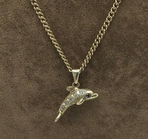 """Ladies 9ct Gold Dolphin Necklace 25"""" - 05.21690L"""