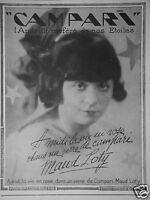 PUBLICITÉ 1927 CAMPARI L'APÉRITIF PRÉFÉRÉ DE NOS ÉTOILES MAUD LOTY - ADVERTISING