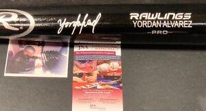 Yordan Alvarez Astros JSA WITNESS COA Signed Engraved Bat Black 1