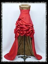 dress190 Rot Leopardkorn Hochzeit/Abend Brautjungfer AbschlussballKleid Größe 46