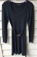 DECJUBA Womens Dress LBD Black Belted Knit Long Sleeve Sz XS EUC #SUNDAYMARKET
