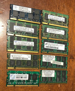 Mix Lot of 10 pcs : 1GB DDR2 667 667mhz PC2-5300 SODIMM Memory for Sale