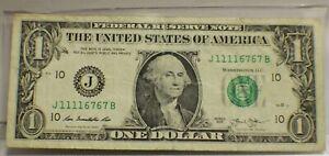 $1 2013 Fancy Serial J 1111 6767 B