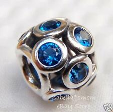 New AUTHENTIC PANDORA Silver BLUE WHIMSICAL LIGHTS Swiss CRYSTAL Charm~Bead