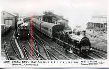 Pamlin M3229 repro photo postcard Class L11  Epsom Town Station Surrey 1928