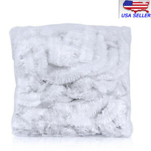 Hot100pcs/Pack Disposable Hotel Home Shower Bathing Clear Hair Elastic Caps Hats