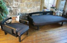Mid Century 3 seater lounge daybed sofa.Teak Cane.Retro Danish Parker Eames era