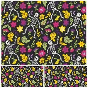 Polycotton Fabric Craft BLACK SKELETON FLORAL Metre Material Special Offer