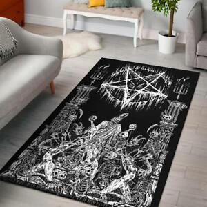Skull Demon Satanic Pentagram Drip Doom Priest Area Rug