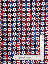 Patriotic Silver Pearl Stars Blue Cotton Fabric Star Spangled by Kanvas - Yard