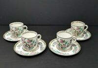 Antique John Maddock & Sons Indian Tree Pattern Set 4 Demitasse Cups & Saucers