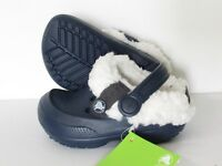 43a149edf Unisex CROCS Blitzen II Navy Lined CLOGS KIDS Boy Girl size 6 7   8 ...