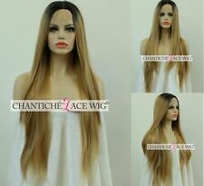 Ombre Synthetic Hair Lace Front Wigs Dark Roots Blonde Long Straight Heat Safe
