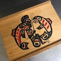 Wooden Cigar Box EH Northwest Canada Art Fishing Nature Red Black Boho Ethnic