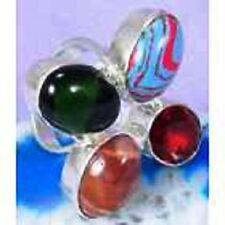 FUNKY Multi Gemstone & 925 Silver Handmade Designer Ring Size 8.5 G76-32502