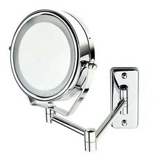 "Wall Mounted 6"" LED Lighted Bathroom Makeup Mirror Dual Side 7x Magnifying New"