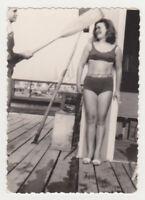 Pretty Woman Beach Legs Bikini Swimsuit Female Abstract Snapshot VTG Old Photo