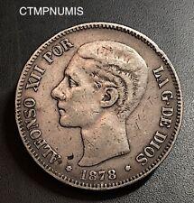 ESPAGNE 5 PESETAS ARGENT ALPHONSE XII  1878 (78)