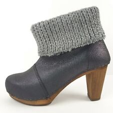Sanita Womens Ankle Platform Bootie Gray Pewter Leather Cuff  Size 37 Size 6.5