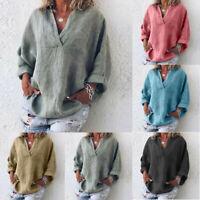 Women Trendy Plus Size Pure Color Casual Loose Tunic V-Neck Blouse Plain T-Shirt