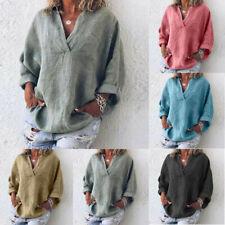 dc6460d12382a3 Women Trendy Plus Size Pure Color Casual Loose Tunic V-Neck Blouse Plain T-