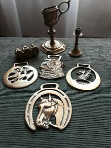 horse brasses, candle sticks & wise monkeys job lot