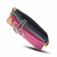 Visconti RB69 Multi Color Soft Leather Coin Purse Key Wallet With Key Chain Pink