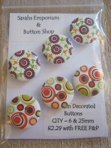 Wooden Decorated Buttons - qty 6 & 25mm  ** NEW **  Assorted Mix - F