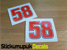 2x Marco Simoncelli Stickers Superbike MotoGP Tribute Car Van Motorcycle 90mm