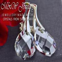 925 Silver Earrings Metallic Cap Pear Crystals from Swarovski® CRYSTAL LIGHT CH.