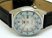 SEIKO5 AUTOMATIC MEN,S STEEL PLATED VINTAGE WHITE DIAL MADE JAPAN WATCH RUN
