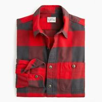 New J Crew Midweight Herringbone Buffalo Plaid Flannel Slim Shirt Button Up Red
