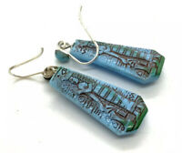 Antique art deco sterling silver Egyptian revival earrings