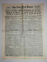 N1229 La Une Du Journal The New York times 7 August 1945 first atomic bomb