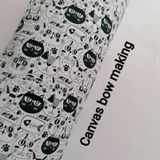 cats black and white HAIR BOW MAKING A4 SHEET PRINTED CANVAS FABRIC MATERIAL