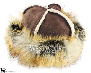 Wild Fox Fur-Trimmed Viking Hat - Faux Fur - Norse/winter/cap/head/larp/medieval