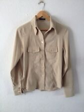 Ladies Suedette Shirt By Essentials Size 10 Ecru Polyester/Spandex <R14037