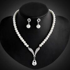 COLLIER Brautschmuck Schmuckset Kette Hochzeit Perlenkette Perle Strass Set
