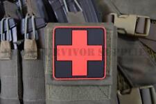 MEDIC CROSS FIRST AID KIT PVC PATCH - Red & Black Trauma Pouch Marker Army Badge